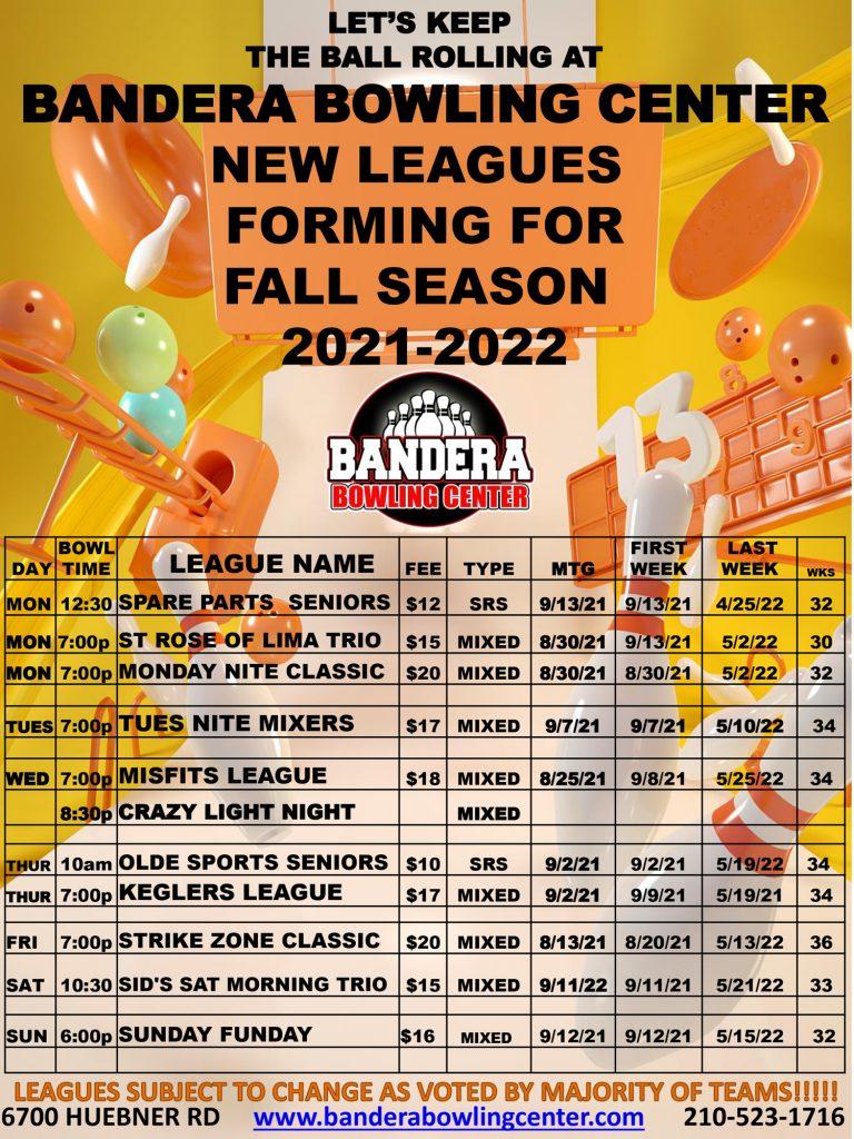 fall league schedule